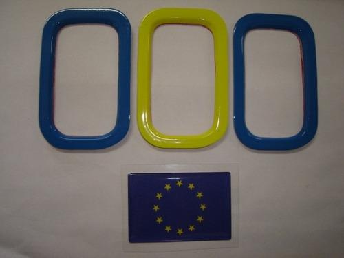 aplique de parachoque p/ novo uno + bandeira européia - bre
