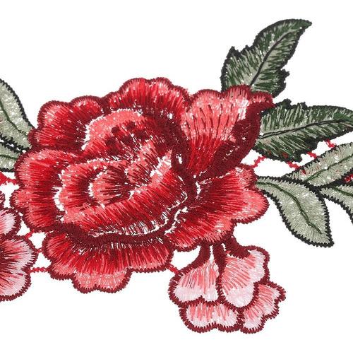 aplique kit 2 bordado patch flor vermelha lindo p/ roupas