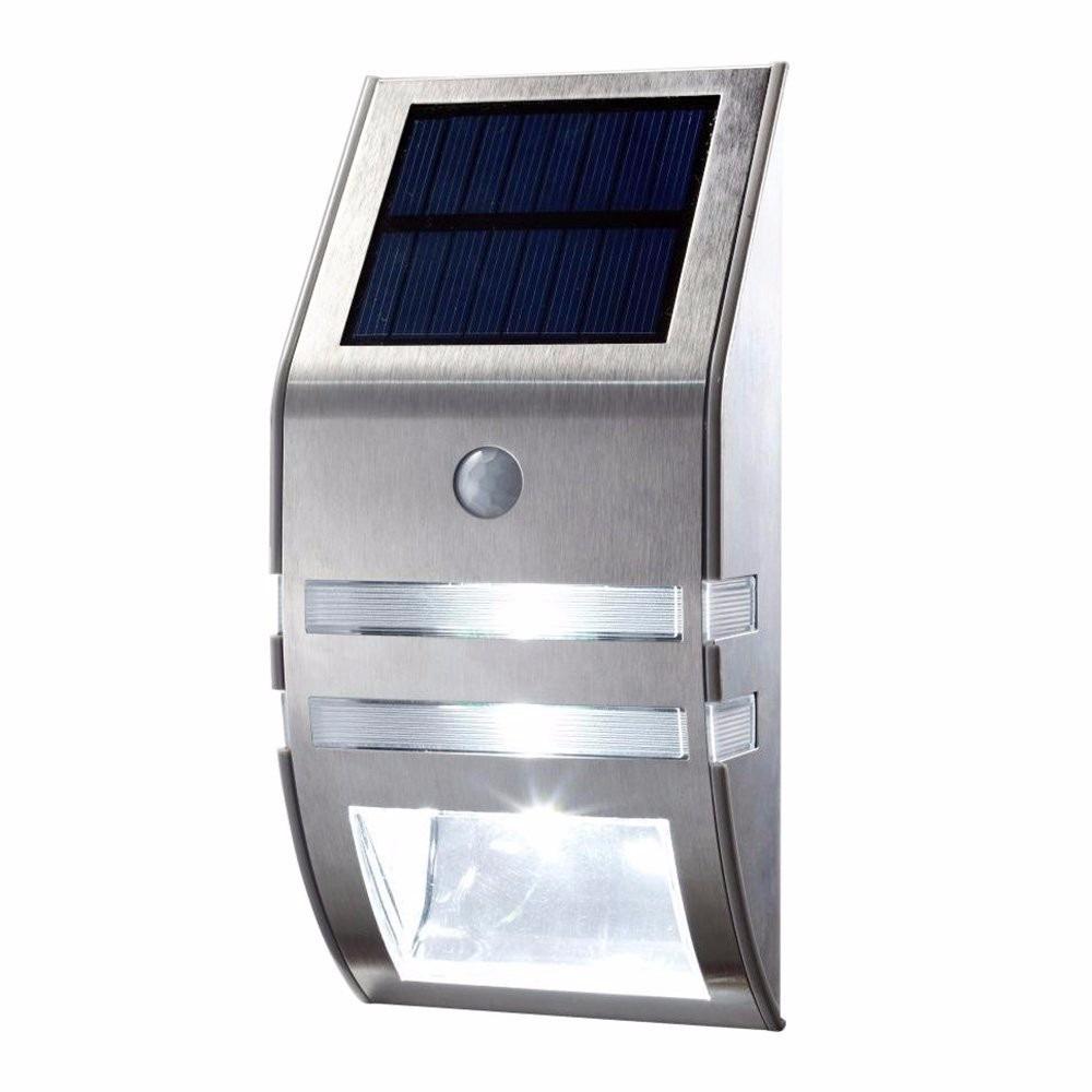 Aplique led solar acero inoxidable fotoc lula sensor for Aplique exterior solar led