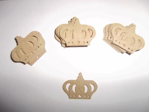 aplique mini coroa mdf festa decoração kit 70 r$ 1,00 cada