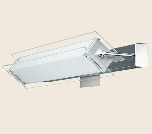aplique movil, vidrio para bajo consumo con lampara liquidac