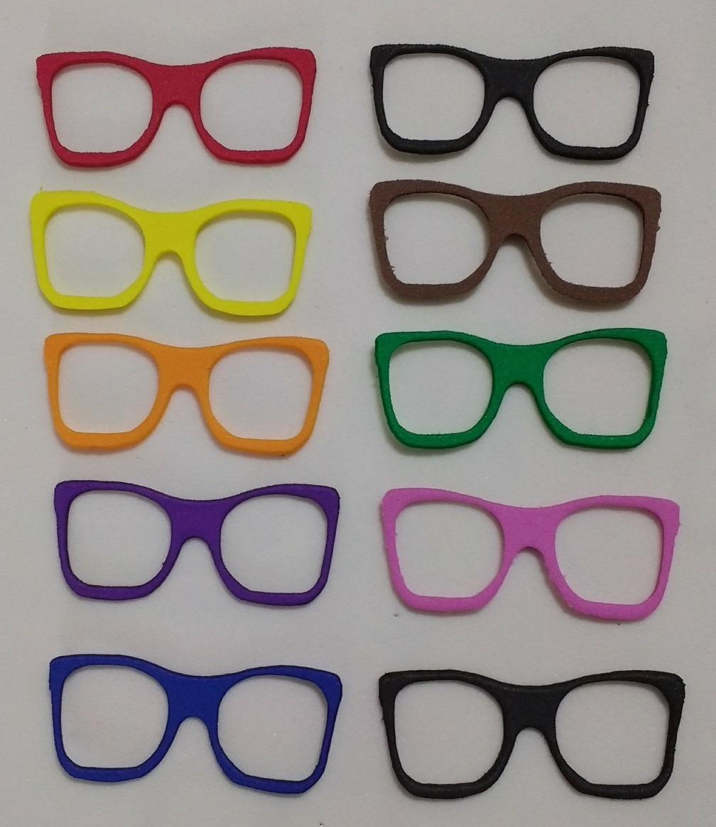 01d1efbf3 Aplique Óculos Em Eva Com 10 Unidades 6 Cm Várias Cores* - R$ 12,99 ...