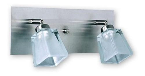 aplique pared 2 luces baño inoxidable vidrio platil g9 led