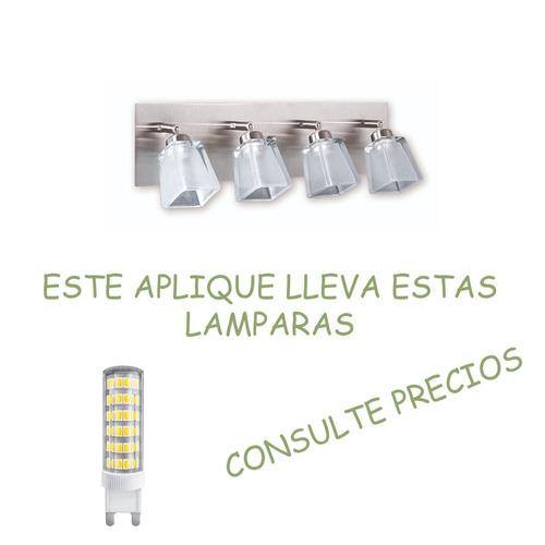 aplique pared baño inoxidable 4 luces vidrio platil g9 led
