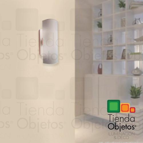 aplique pared difusor vidrio curvo satinado 2 luces ferrolux