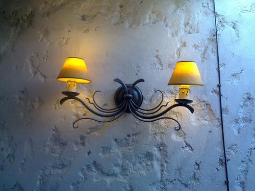 aplique pared hierro forjado y pantalla,fabrica,iluminacion