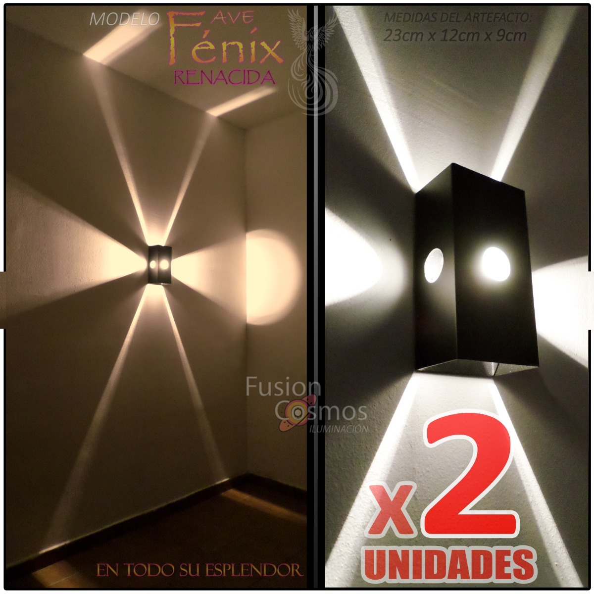 Aplique X2 Led Fénix Interior C 6w Lampara Efecto Pared Kit PkTuXiZlwO