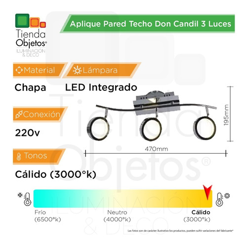 aplique pared techo don candil 3 luces led 18w 220v
