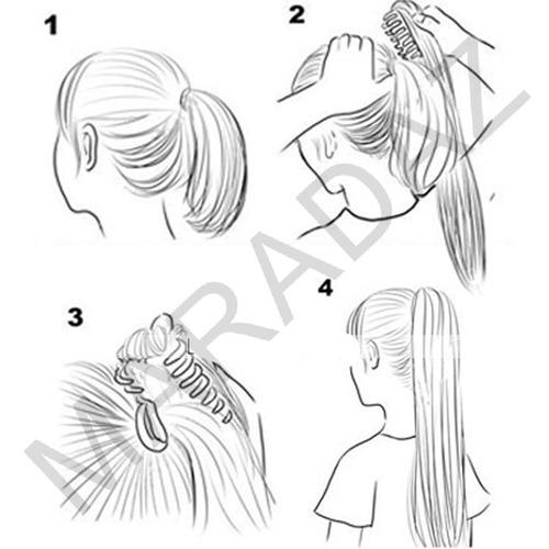 aplique (peluca) tipo cola de caballo broche 60cm kanekalon