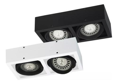 aplique plafon box 2 luces cardanico lampara ar111 led focos