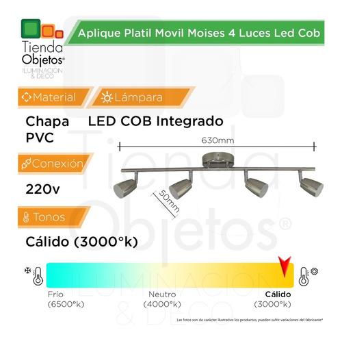 aplique platil movil moises 4 luces led cob 20w 220v