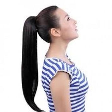 aplique rabo cabelo humano castanho natural liso 50cm