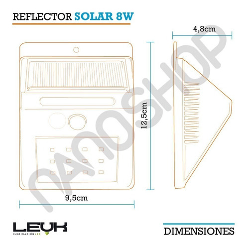 aplique reflector led panel solar sensor movimiento 12 leds