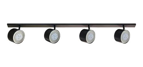 aplique riel barral 1 metro 4 luces ar111 led 12w spot móvil