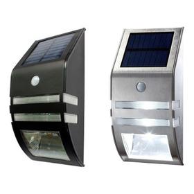 Aplique Solar Led De Gran Calidad, Acero Ó Negro Sensor Mov.
