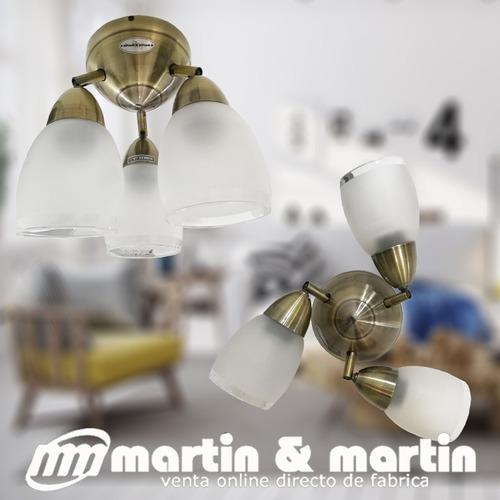 aplique techo bronce tulipa vidrio apto led martin & martin