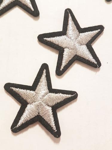 aplique termoadhesivo estrella bordada plata pack x 5 unidad