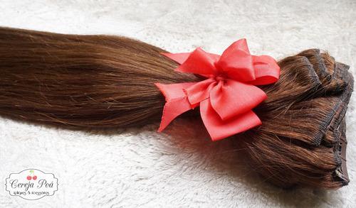 aplique tic tac cabelo humano castanho 45cm 200gr 10pcs