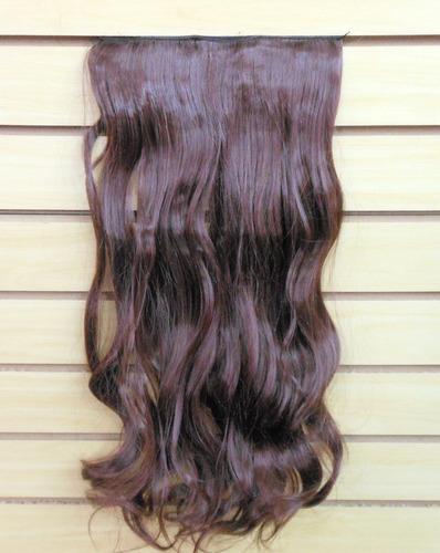 aplique tic tac de cabelo sintético cacheado ruivo