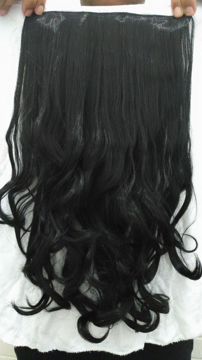 f0be2c12d aplique tictac alongamento cabelo mega fribra preto ondulado. Carregando  zoom.