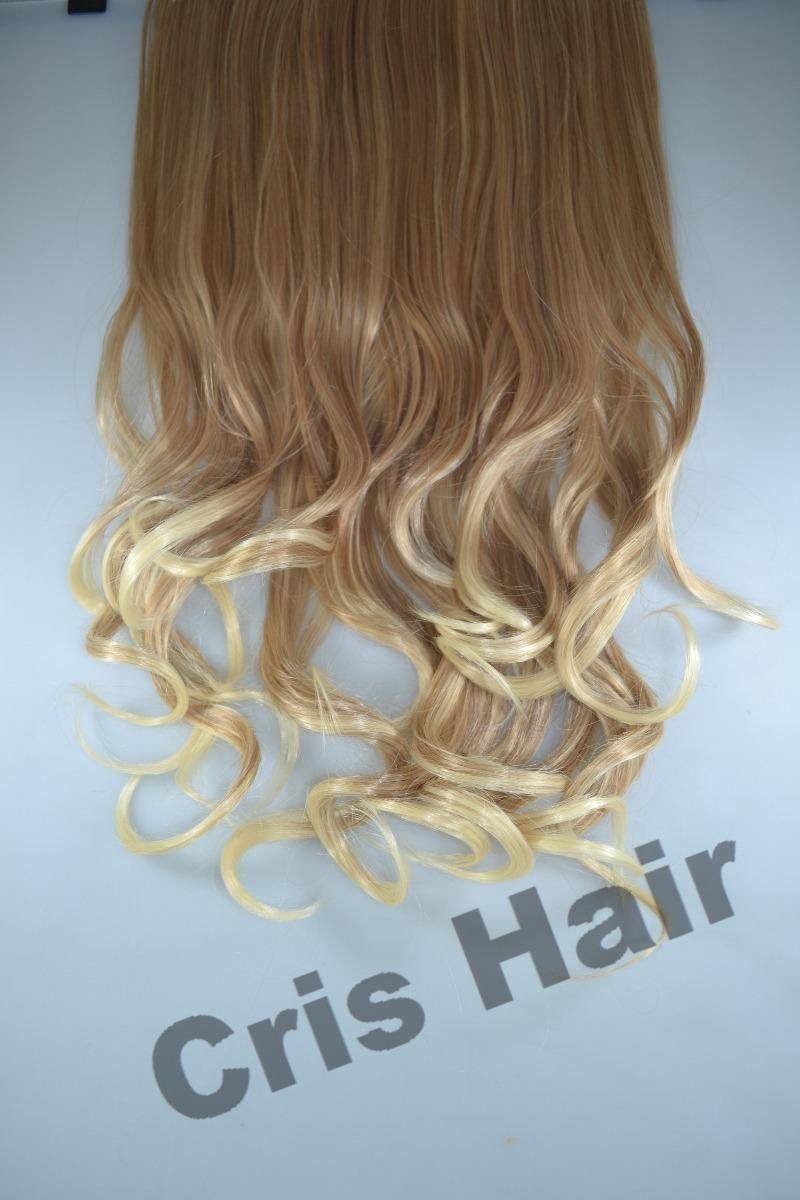 75315c229 aplique tictac mega hair ondulado loiro ombré 55cm. Carregando zoom.