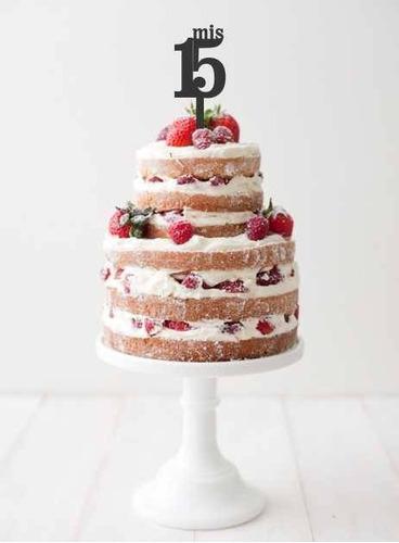 aplique torta decoracion madera 30cm frase nombre cumple 15