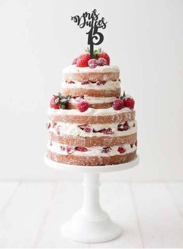 aplique torta decoracion madera 40cm frase nombre cumple 15