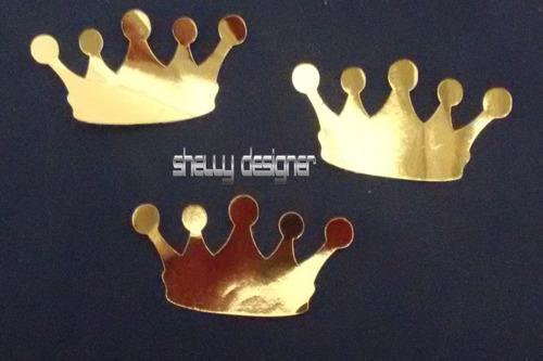 apliques  coroa cartolina dourada laminada príncipe princesa