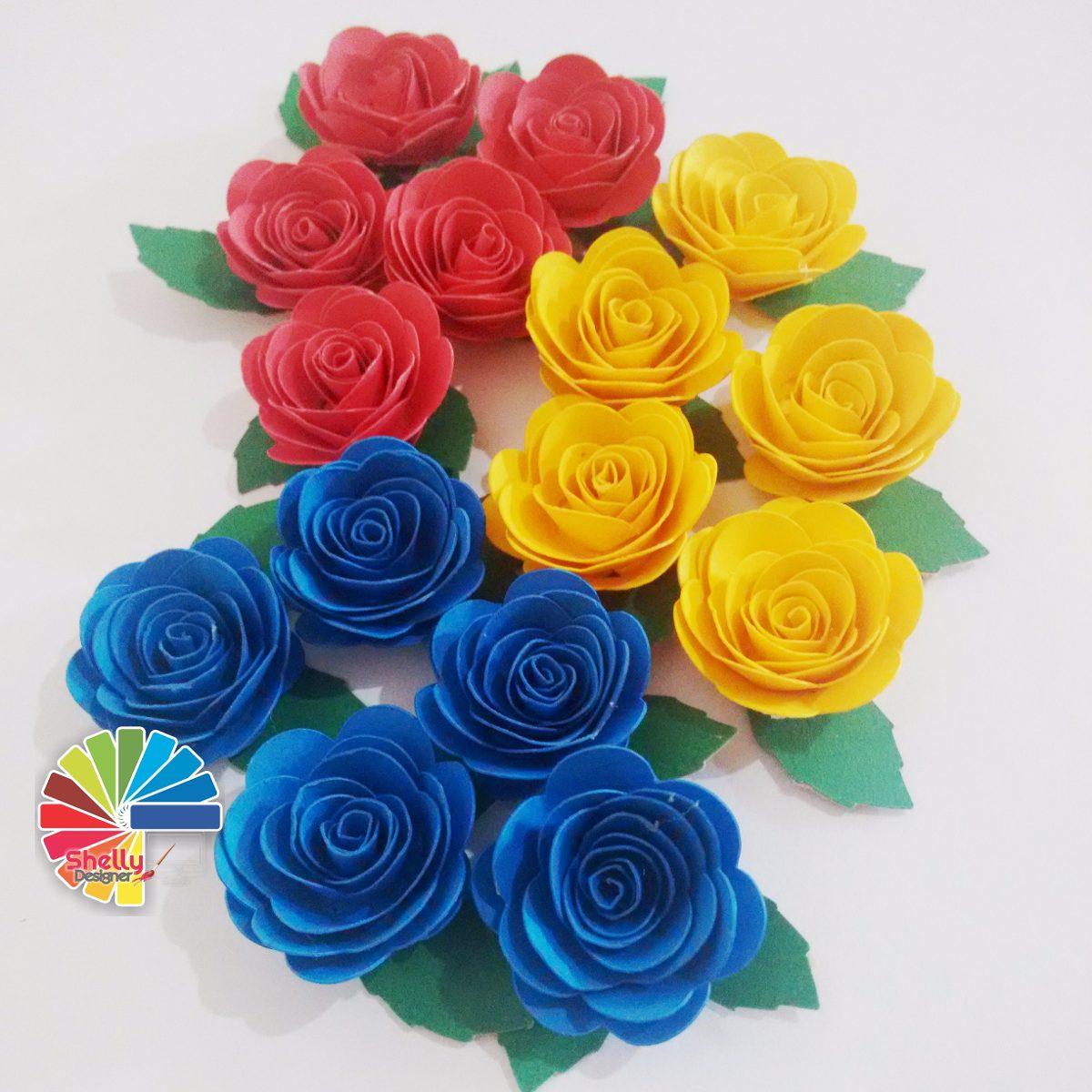 Apliques de mini rosas flores de papel apliques tag cromos for Rosas de papel