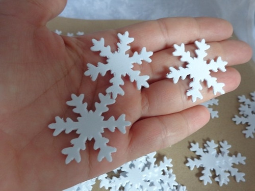 apliques frozen branco floco de neve eva grande 3,8cm