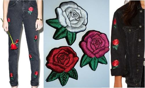 apliques rosas bordadas