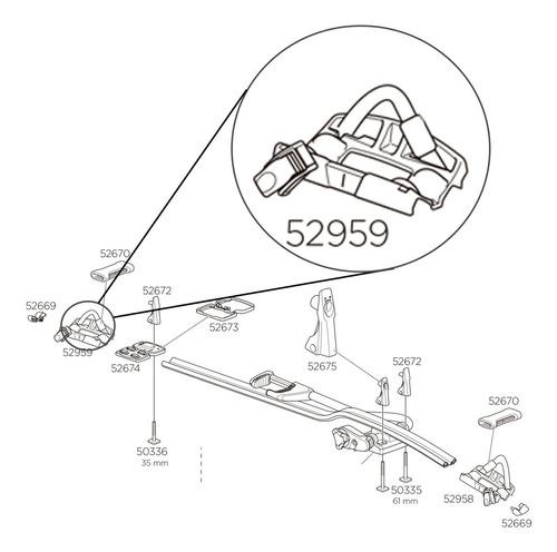 apoio e presilha traseira de roda da calha 598 (52959)