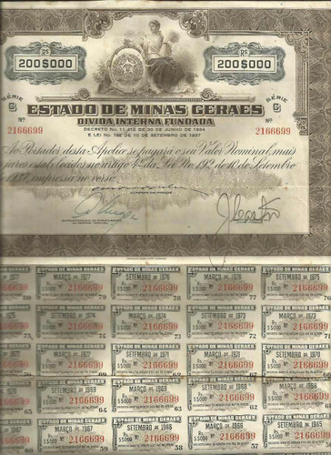 apólice 1937 titulo divida publica estado minas gerais