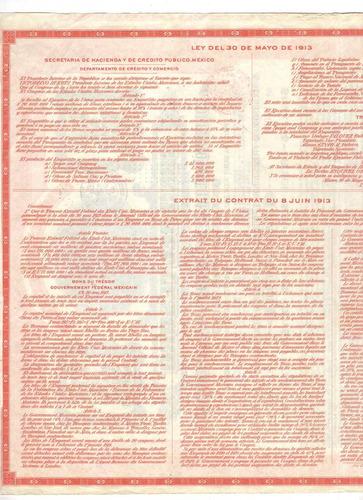 apólice bono del tesoro república mexicana em ouro 1913