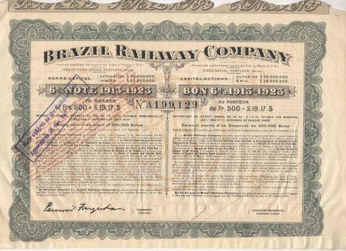 apólice - brazil railway comapny - 500 fr. - ano 1913