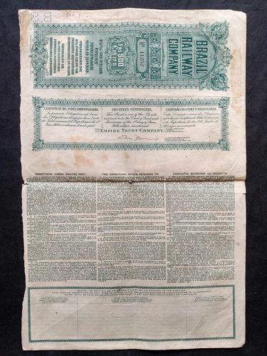 apólice brazil railway gold bond 60 anos emissão de 1909
