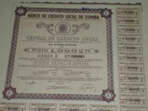 apólice do banco de crédito local de espanha - 1959