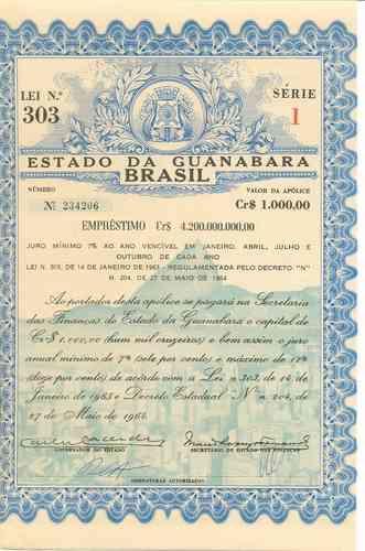 apólice do estado da guanabara - 1964