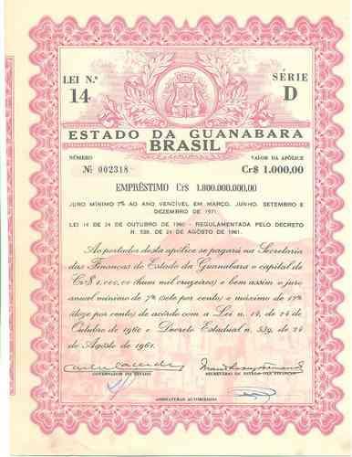 apólice do estado da guanabara - série d