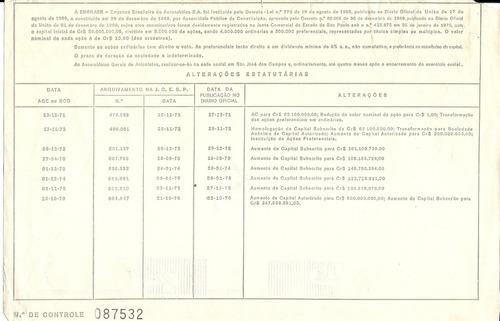 apólice embraer empresa brasileira de aeronáutica s.a. 1976