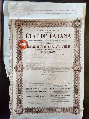 apólice etat de paraná 10 libras 1917 cupons 15 a 40