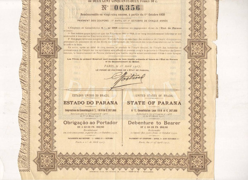 apólice - état de paraná - ano 1917