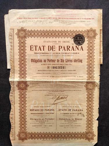 apólice etat de paraná ( estado do paraná ) ano 1917