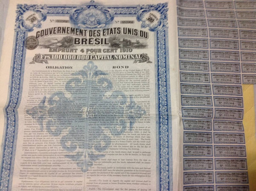 apolice gouvernement  500 francos - 1910