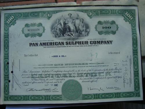 apolice - pan american sulphur company  - ano 1967 - 191378