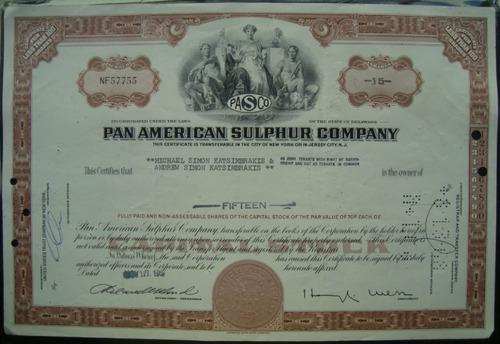 apolice -  pan american sulphur company - ano 1967