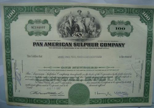 apolice - pan american sulphur company - ano 1967 nc184601