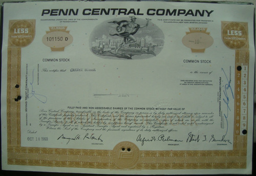 apolice -  penn central company - ano 1969