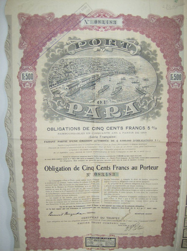 apólice port of pará 500 francs 1909 c/ cupons