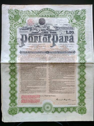 apólice port of pará gold bond ano 1907 belém do pará